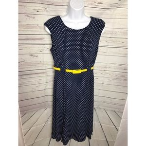 connected apparel Dresses - Navy Polka Dot Dress with Yellow Belt SZ 8